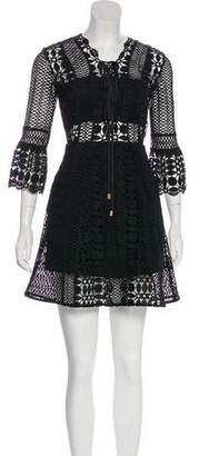 Self-Portrait Crocheted Long Sleeve Mini Dress