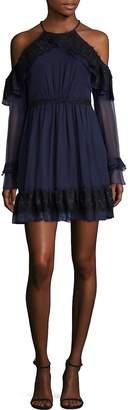 Three floor Women's Frill Seeker Cold-Shoulder A-Line Dress