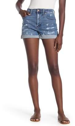 Madewell Paint Splatter Frayed High Rise Denim Shorts