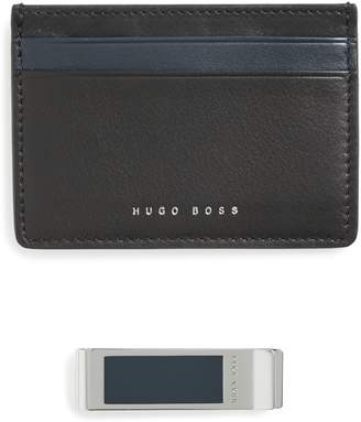 BOSS Leather Card Case & Money Clip Gift Set