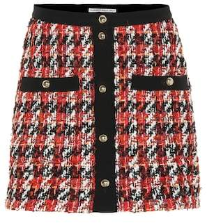 Alessandra Rich Plaid wool and mohair-blend miniskirt