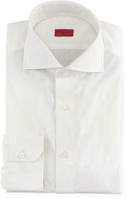 Isaia Tonal Floral Jacquard Dress Shirt, White