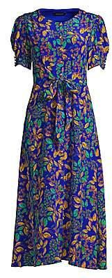 Saloni Women's Lea Leaf-Print A-Line Midi Dress