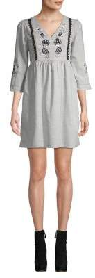 Dorothy Perkins Embroidered Three-Quarter Sleeve Dress