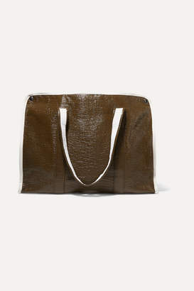 Kassl Editions - Medium Two-tone Crinkled Faux Patent-leather Tote - Dark brown