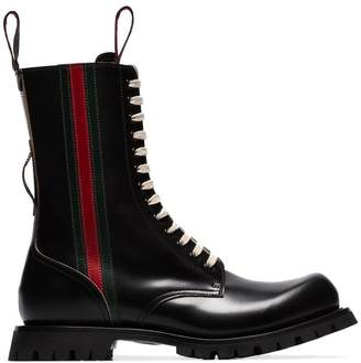 Gucci leather Arley web boots