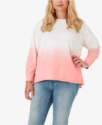 Jessica Simpson Juniors' Dasha Plus Size Dip-Dyed Sweatshirt