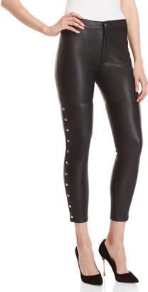 IRO Black High-Waisted Snap Side Leather Leggings