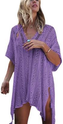 Suvotimo Women Summer Knit Bikini Cover Ups Swimsuits Beachwear Mini Dress