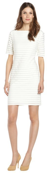 SD Collection ivory ribbed stretch short sleeve shift dress