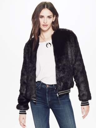 Mother Letterman Fur Jacket - Stroke Of Fortune Black