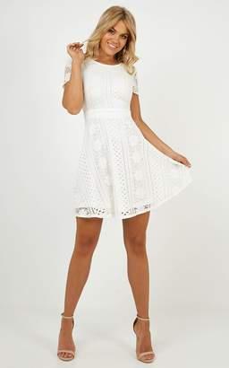 Showpo Gentle Nudge Dress in White Lace