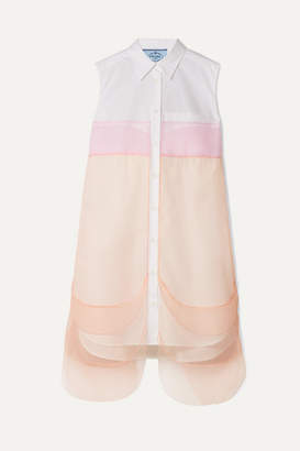 Prada Tulle-paneled Cotton-poplin Mini Dress - White