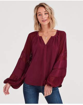 7 For All Mankind Panel Sleeve Blouson Top In Dark Bordeaux