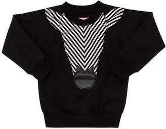 Striped Zebra Patch Cotton Sweatshirt