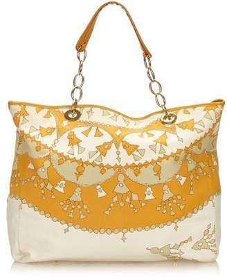 Christian Dior Vintage Printed Cotton Tote Bag