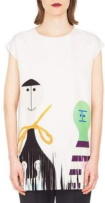 Akris Cap-Sleeve Doll-Print Crepe Tunic w/ Fringe Hem