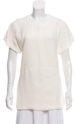 Narciso Rodriguez Silk Scoop-Neck Blouse