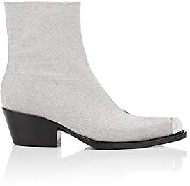 Calvin Klein Women's Metal-Tipped Glitter Ankle Boots-Silver