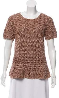 Brunello Cucinelli Open Knit Short Sleeve Top