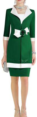 ModeC Satin Lace Colorblock 2 pcs Knee Mother of The Bride Dress with Jacket