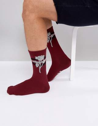 HUF Ambush Socks With Rose Print In Red