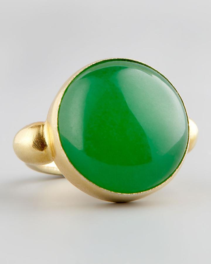 Devon Leigh Green Jade Gold Ring