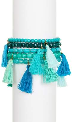 Panacea Beaded Tassel Stretch Bracelet Set - Set of 5