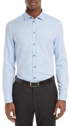 Men's Armani Collezioni Trim Fit Micro Print Sport Shirt $295 thestylecure.com