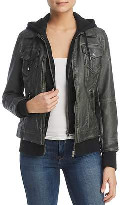 Bagatelle Faux-Leather Layered-Look Hooded Jacket
