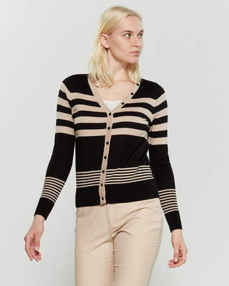 August Silk Long Sleeve Striped V-Neck Cardigan