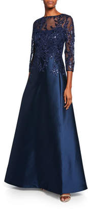 ec26309cb9b6 Rickie Freeman For Teri Jon High-Neck 3/4-Sleeve Gazar Gown with