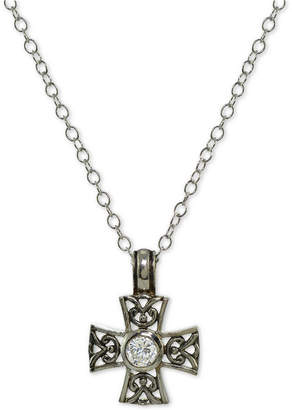 Giani Bernini Cubic Zirconia Filigree Cross Pendant Necklace in Sterling Silver