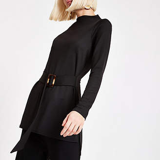 River Island Womens Black belted long sleeve tunic