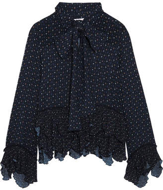 See by Chloé - Pussy-bow Ruffled Printed Georgette Blouse - Storm blue $475 thestylecure.com