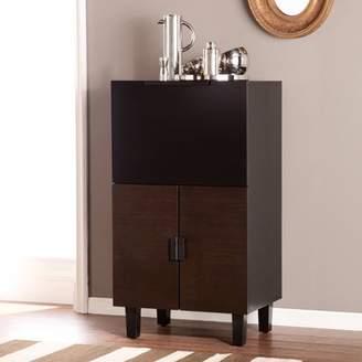 Mid-Century MODERN Southern Enterprises Tris Midcentury Modern Bar Cabinet, Blackened/Espresso and Black