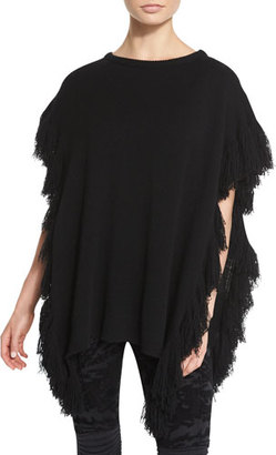 Ralph Lauren Collection Fringe-Trim Cashmere Poncho, Black $1,390 thestylecure.com