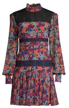Saloni Dina Tropical Print Drop Waist Dress