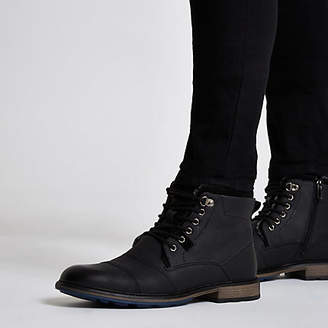 River Island Black lace-up fleece lined military boots