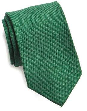 Drakes Drake's Green Wool Silk and Cashmere Tie