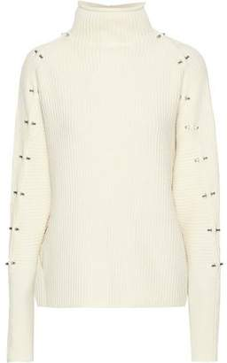 Elie Tahari Embellishment Ribbed Wool And Cashmere-Blend Turtleneck Sweater