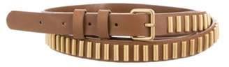 Haute Hippie Leather Gold-Tone Wrap-Around Belt Brown Leather Gold-Tone Wrap-Around Belt