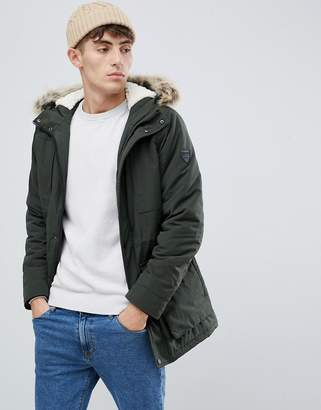 Solid Parka With Faux Fur Hood In Khaki
