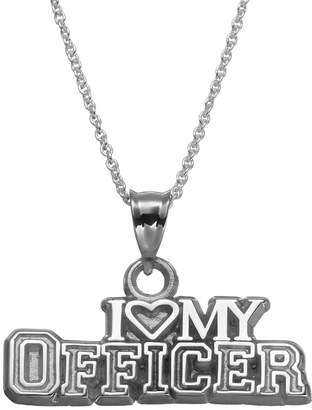 "Insignia Collection Sterling Silver ""I Love My Officer"" Pendant Necklace"