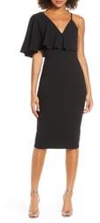 Dress the Population Beth Asymmetrical Ruffle Sleeve Dress