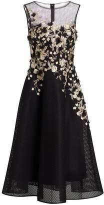 Teri Jon By Rickie Freeman Neoprene Metallic Embellished Fit-&-Flare Cocktail Dress