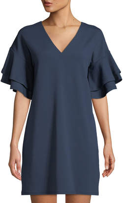 Kensie Ruffle-Tiered Sleeve Crepe T-Shirt Dress