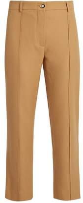 Sies Marjan - Flared Leg Wool Twill Cropped Trousers - Womens - Camel