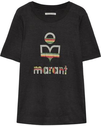 Étoile Isabel Marant - Kendriwa Slub Linen-jersey T-shirt - Black $195 thestylecure.com