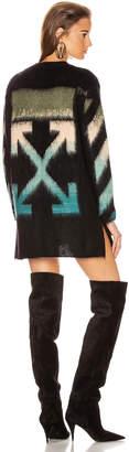 Off-White Off White Intarsia Mohair Crewneck Sweater in Black Petrol | FWRD
